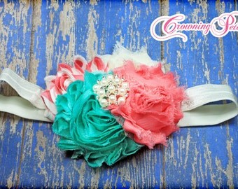 Pink, Turquoise, Ivory, Coral Headband, Spring Hair Bow, Shabby Chiffon Flowers, Aqua, Cream Flower Hair Accessories, Baby Hair Bows