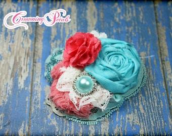 Coral, Mint, Turquoise, Ivory Hair Clip, Headband, Hair Accessories, Fabric Flowers, Bridesmaid Hair Piece, Baby Girl Hair Bow