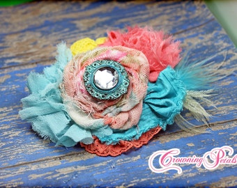 Aqua, Coral, Yellow Hair Piece, Vintage Turquoise Flower Headband, Fabric Flower Hair Piece, Hair Bow, Fabric Flowers Brooch, Baby Hair Clip