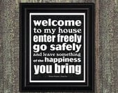 WELCOME, DRACULA Art, Welcome Sign, Entrance Sign, Happiness Quote, Black and White, Halloween Decor, 8x10