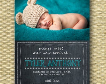 Custom Birth Announcement - Chalkboard Baby Boy, Portrait Layout