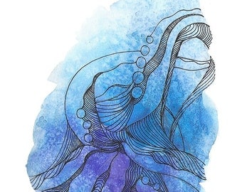 """Octopus Painting - Cast Offtopus  - Fine Art Giclee Print of 8""""x10"""" Blue Watercolor Painting"""