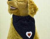 Pet Bandana Denim With Hearts  Large Valentine Bandana Genuine Leather Hearts