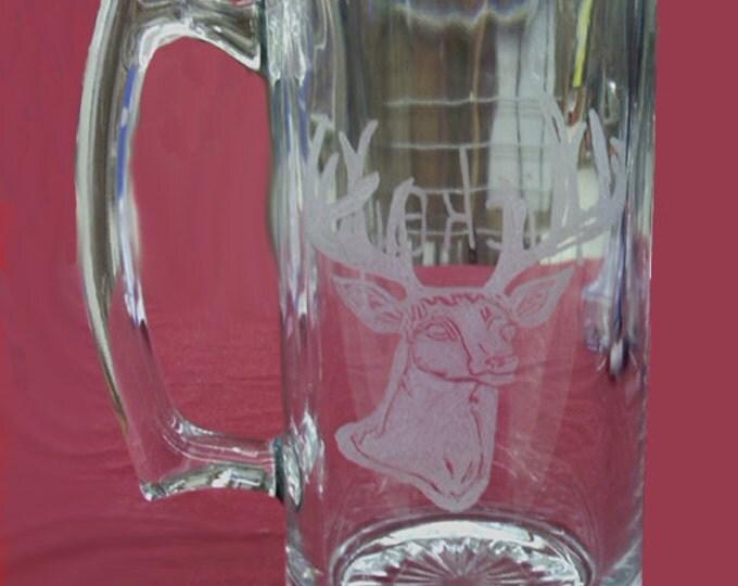 Buck or Doe Deer head engraved on 20 oz mug