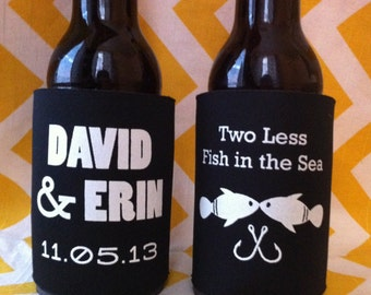 Two Less Fish in the Sea - Custom Wedding Can Coolers, Fishing Wedding Coolies, Fishing Wedding Insulated Beverage Holder (200 qty)