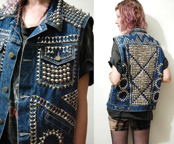 Studded Denim Jacket Vest Vintage 90s Grunge Ooak Tribal Aztec