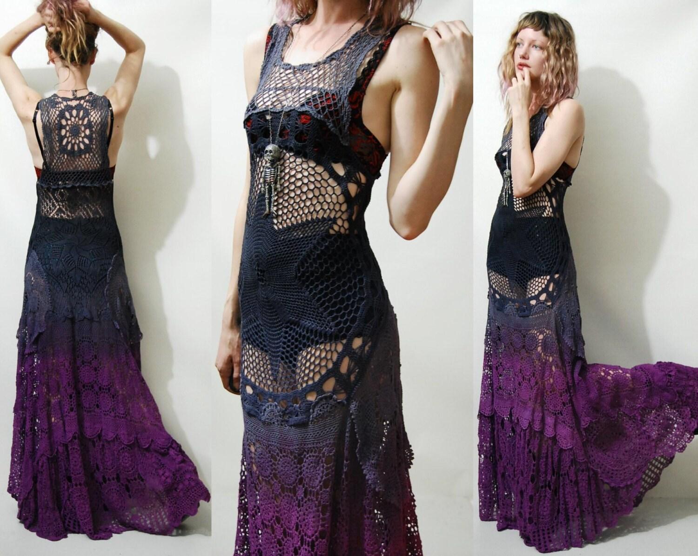 Crochet Dress Vintage Lace Purple Black Ombre Long Maxi Sheer