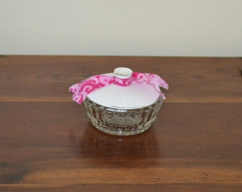 Vintage Glass Bowl with Lid White Pink Shabby Cottage Decor  Upcycle Recycle Handmade LittlestSister