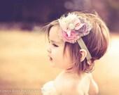 SALE-Ivory-pink-gray Trio shabby Chic ChiffonFlower Headband -Baby headband- Newborn headband- Infant headband- Toddler headband