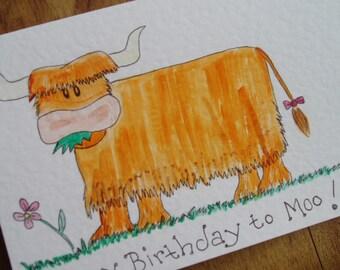 Cow Birthday card. Happy Birthday to Moo.