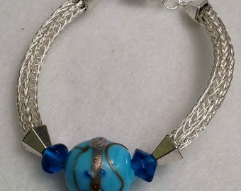 Ladies silver viking knit with blue India glass beads
