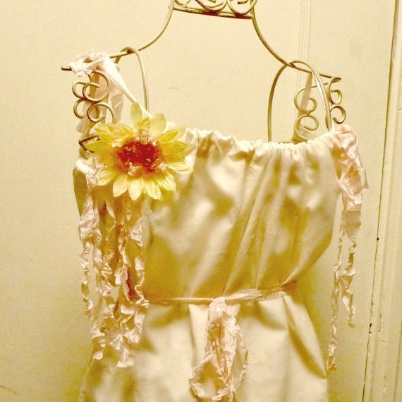 Flower Girls Dress Sunflower Long Ivory Eco Pink Yellow