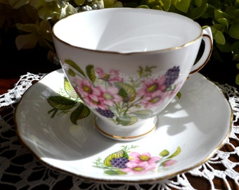 Royal Vale Fine Bone China Tea Cup and Saucer, Pink Flowers, Gold Gilt, England