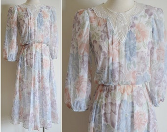 SALE Pastel Flowered Dress, Size 7, Sheer Floral Dress, Vintage 3/4 Sleeved Dress, Pink, Blue, Purple and Green Flowered Dress