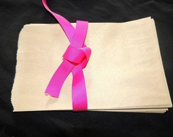 100 6x9 Kraft Paper Party Bags,  Paper Merchandise Bags, Party Favor Bags, Natural Kraft Paper Wedding Craft Bags
