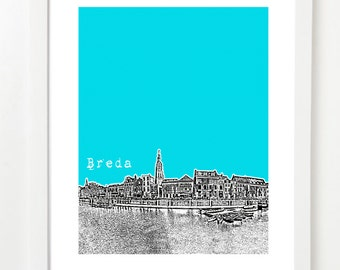 Breda Poster - Breda City Skyline Art Print - Breda Netherlands Art Print
