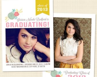 Senior Graduation Announcement Card Template for Photographers Photoshop Templates for Photographers Photo Card Template - GD107