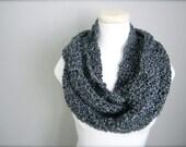 Crochet Charcoal Grey, Dark Grey Infinity Scarf, Women's Scarf, Men's Scarf, Unisex Infinity Scarf