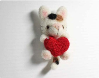 Mumu Cat - needle felted wool brooch, crystal bead