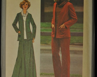Misses' Pants, Skirt, Unlined Jacket and Top Size 20 1/2 Uncut Vintage 1970s Sewing Pattern Simplicity 8210