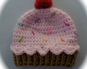 Crochet baby beanie CUPCAKE hat  premie newborn 0-3 month infant  boy or girl photography photo prop pink blue yellow