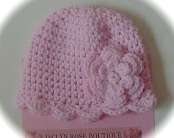 Clearance Crochet baby beanie HAT pink with flower scallop edge newborn or 0 - 3 month baby infant girl photo prop