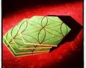 Sacred Geometry Coaster Set- SEED OF LIFE- Hexagon Green Birch Wood Home Decor- Healing Harmony Connection Creation