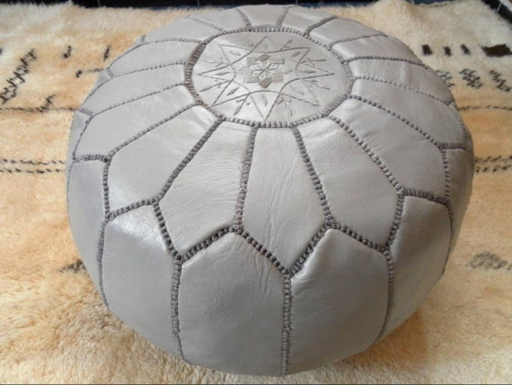 Moroccan LEATHER POUF :hand stitched / embroidered G