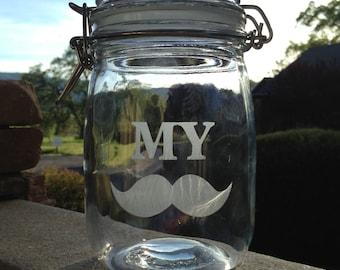 My Stache, Mustache, Movember, Clamp Lid, Jars