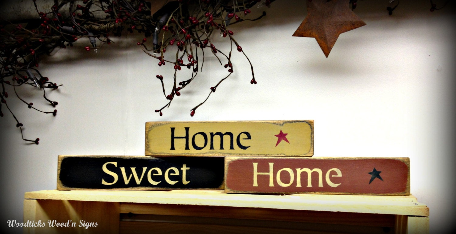 Wooden Home Sign Home Sweet Home Set Of 3 Shelf Sitters