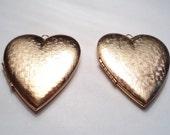 2 - Vintage  matte gold plated basket weave Heart Lockets - m39sh