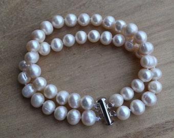 freshwater pearl bracelet, 8'' 8-9mm 2 rows white pearl bracelet,jewelry,double pearl bracelet,wedding bracelet,bridesmaid bracelet