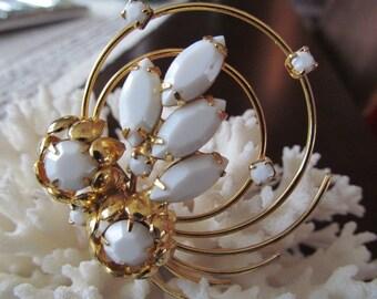 vintage milk glass glass swirl pin