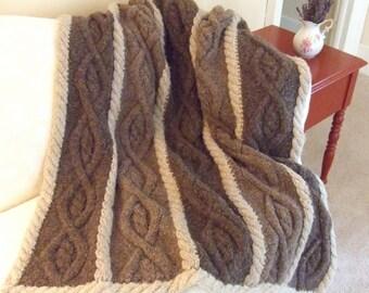 Knitting Pattern-Country Nights Afghan, knit aran cable afghan pattern, aran cable blanket, Bartlettyarns Fisherman Bulky, PDF pattern