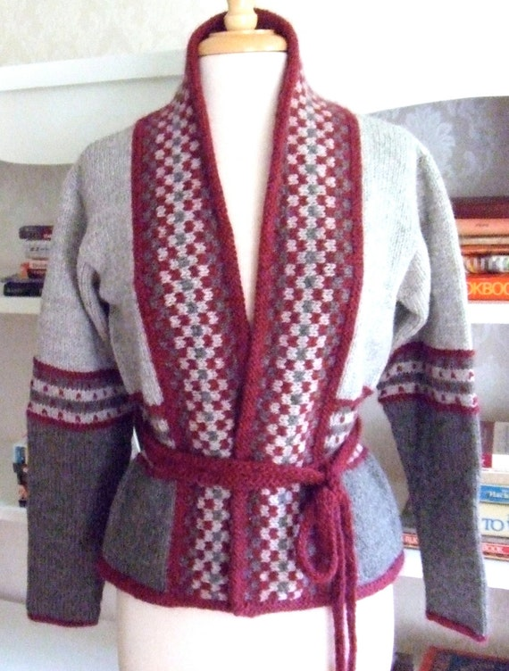 Knitting Pattern For Kimono Sweater : Kimono Style Knitted Jacket Pattern - Gray Cardigan Sweater