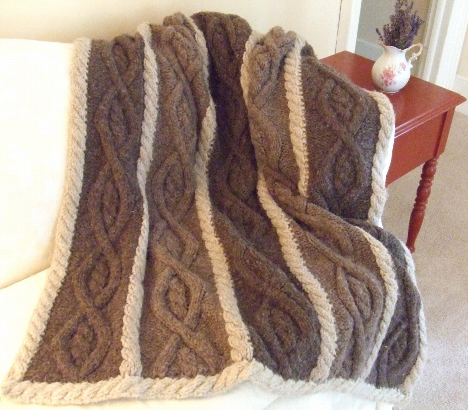 Knit Cable Afghan Pattern : Knitting Pattern-Country Nights Afghan knit aran cable afghan
