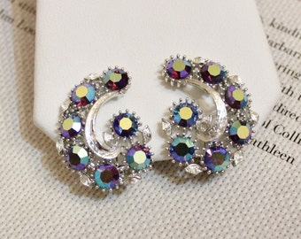 Vintage Aurora Borealis Rhinestones Earrings By Lisner
