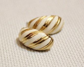 Vintage White and Gold Enamel Stud Earrings