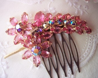 PINK FREEZE Vintage Bridal Rhinestone Hair Comb Assemblage Mother of the Bride Bridesmaids Hair Accessories Aurora Borealis One of a Kind
