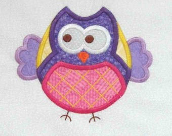 OWL Applique and Embroidered Quilt Block by Amy