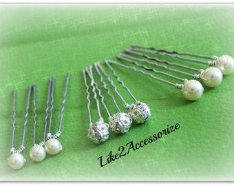 White Ivory Champagne Pink Blue Pearl Hair Pins, Rhinestone Ball, Swarovski Pearls, Bridal Hair Piece, Wedding Accessories, Bridesmaid Gift