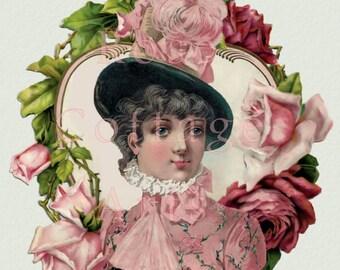 Original Digital Ephemera Collage Download Antique Valentine Rose Heart Lady 3 Die Cut Victorian Scrap Graphic Image