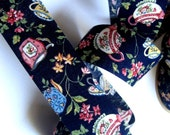 """Floral Tea Party Cotton Ribbon Trim, Navy / Multi Color, 1 3/8"""" inch wide, 1 yard, For Victorian & Romantic Crafts"""