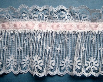"Extra Wide Ruffled Lace With Ribbon Beading, Light Pink / White , 4 1/2"" inch wide, 1 Yard, For Victorian & Romantic Projects"