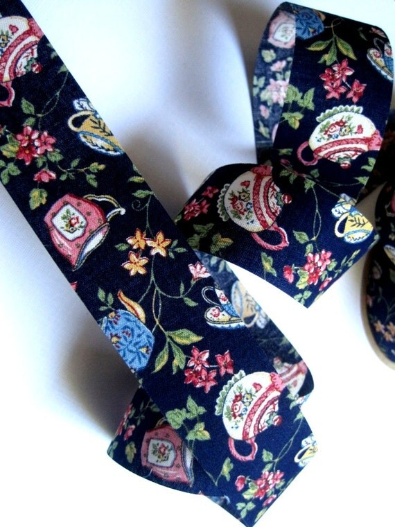 "Floral Tea Party Cotton Ribbon Trim, Navy / Multi Color, 1 3/8"" inch wide, 1 yard, For Victorian & Romantic Crafts"