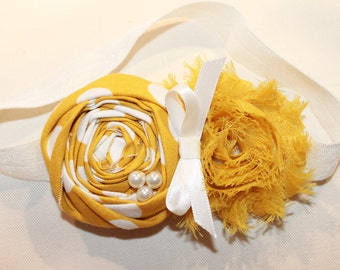 Mustard and Ivory Baby Flower Headband, Newborn Headband, Baby Girl Flower Headband, Photography Prop