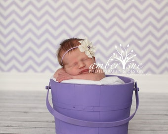 Lilac and Ivory Silk Baby Flower Headband, Newborn Headband, Baby Girl Flower Headband, Photography Prop