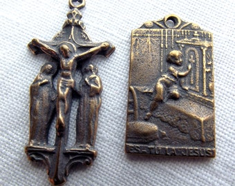 Bronze Crucifixion Chaplet Medal Set VP1058/313