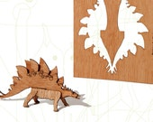 postcard wood - 3 stegosaurus cards