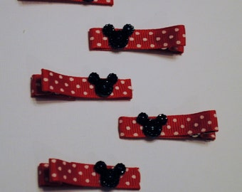 Minnie Mouse Themed Alligator Clips with Sparkle Mickey Silhouette
